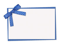 Blue and white polka dot card Royalty Free Stock Photography