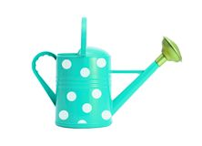 Blue with white polka dot watering can isolated on white. Background Royalty Free Stock Photos