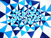Blue white polygon abstract watercolor painting background illustration. Hand drawn design Royalty Free Stock Photos