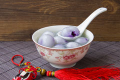 Blue and white porcelain bowls filled with dumplings Stock Photo