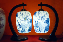 Blue and white porcelain lamp Royalty Free Stock Photos