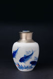 Blue and white porcelain tea caddy studio shot closeup. Still Life, Artwork Stock Photos