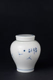 Blue and white porcelain tea caddy studio shot Stock Photography