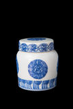 Blue and white porcelain tea caddy studio shot Stock Photo