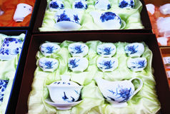 Blue and white porcelain tea sets Stock Photo