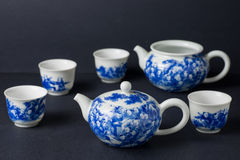 Blue and white porcelain tea sets studio shot Royalty Free Stock Image