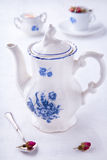 Blue white porcelain teapot royalty free stock image