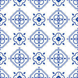 Blue and white portugeese mediterranean seamless tile pattern. Geometric monochrome shapes vector texture for ceramic design, textile and wallpaper Royalty Free Stock Photography