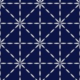 Blue and white quilted fabric geometric seamless pattern, vector stock illustration