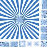 Blue white ray burst background set Royalty Free Stock Images