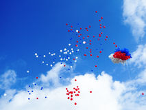 Blue white red balloons in the sky. Background royalty free stock photos