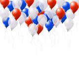 Blue, white and red balloons on white background Stock Images