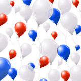 Blue, white and red balloons on white background Royalty Free Stock Photography