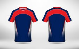 Blue white and red layout e-sport t-shirt design template royalty free illustration