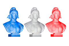 Blue white red Marianne statues Royalty Free Stock Image