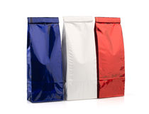 Blue, white and red packages Stock Photography