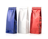 Blue, white and red packages Royalty Free Stock Photos