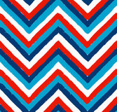 Blue White Red Painted Chevron Pattern Stock Photo