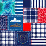 Blue, white and red patchwork. Bohemian style collage made from cotton flaps. Royalty Free Stock Image