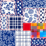 Blue, white and red patchwork. Bohemian style collage made from cotton flaps. Royalty Free Stock Photos