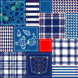 Blue, white and red patchwork. Bohemian style collage made from cotton flaps. Stock Image