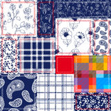 Blue, white and red patchwork. Bohemian style collage made from cotton flaps. Royalty Free Stock Photo