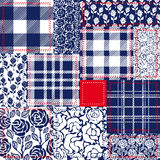 Blue, white and red patchwork. Bohemian style collage made from cotton flaps. Royalty Free Stock Photography