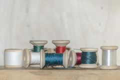 Spools of colored thread royalty free stock images