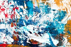 Blue, White, Red, and Yellow Abstract Painting stock photography