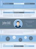 Blue white resume design Stock Images
