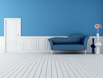 Blue and white retro interior vector illustration