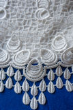 Blue and white retro styled fabric with lacy pattern Royalty Free Stock Images
