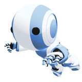 Blue and white robot. A blue and white robot running Royalty Free Stock Photo