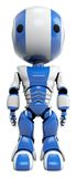 Blue and white robot stock image