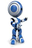 Blue & white robotic man. An artistic, three-dimensional view of a blue and white robotic man on a white background Stock Photos