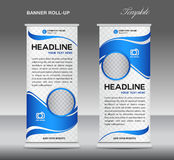 Blue and White Roll up banner stand template vintage banner  Royalty Free Stock Photography