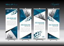 Blue and white Roll Up Banner template design stock illustration