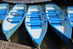 Blue and white rowing boats. Royalty Free Stock Photo
