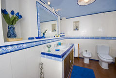 Blue and white rustic bathroom. View of a Spanish rustic bathroom in blue and white tiling with brown tiled floor. Sink, mirror, toilet, bidet Stock Images