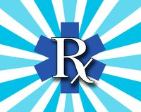 Blue and White RX Stock Photo