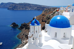 Blue and white,Santorini. The atmosphere of this island is unique Stock Image