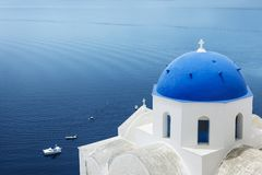 Blue and white in Santorini Royalty Free Stock Photos