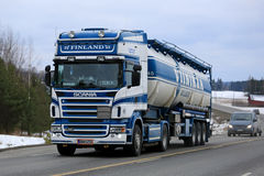 Blue and White Scania Semi Tank Truck Stock Image