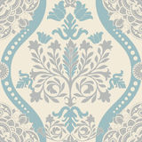Blue and white seamless damask pattern Stock Images