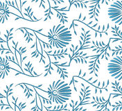 Blue and white seamless floral background. Royalty Free Stock Photo