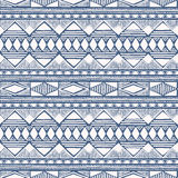 Blue and white seamless pattern. Ethnic background. Vector illustration. Drawing by hand Stock Photography