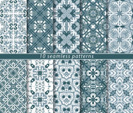 Blue and white seamless patterns Royalty Free Stock Photography
