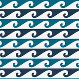 Blue and white seamless wave pattern, line wave ornament in maori tattoo style royalty free illustration