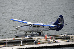 A blue and white seaplane Stock Photo