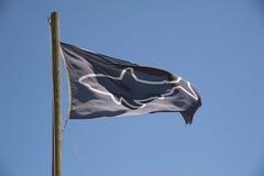 Blue and white shark spotter flag Stock Images
